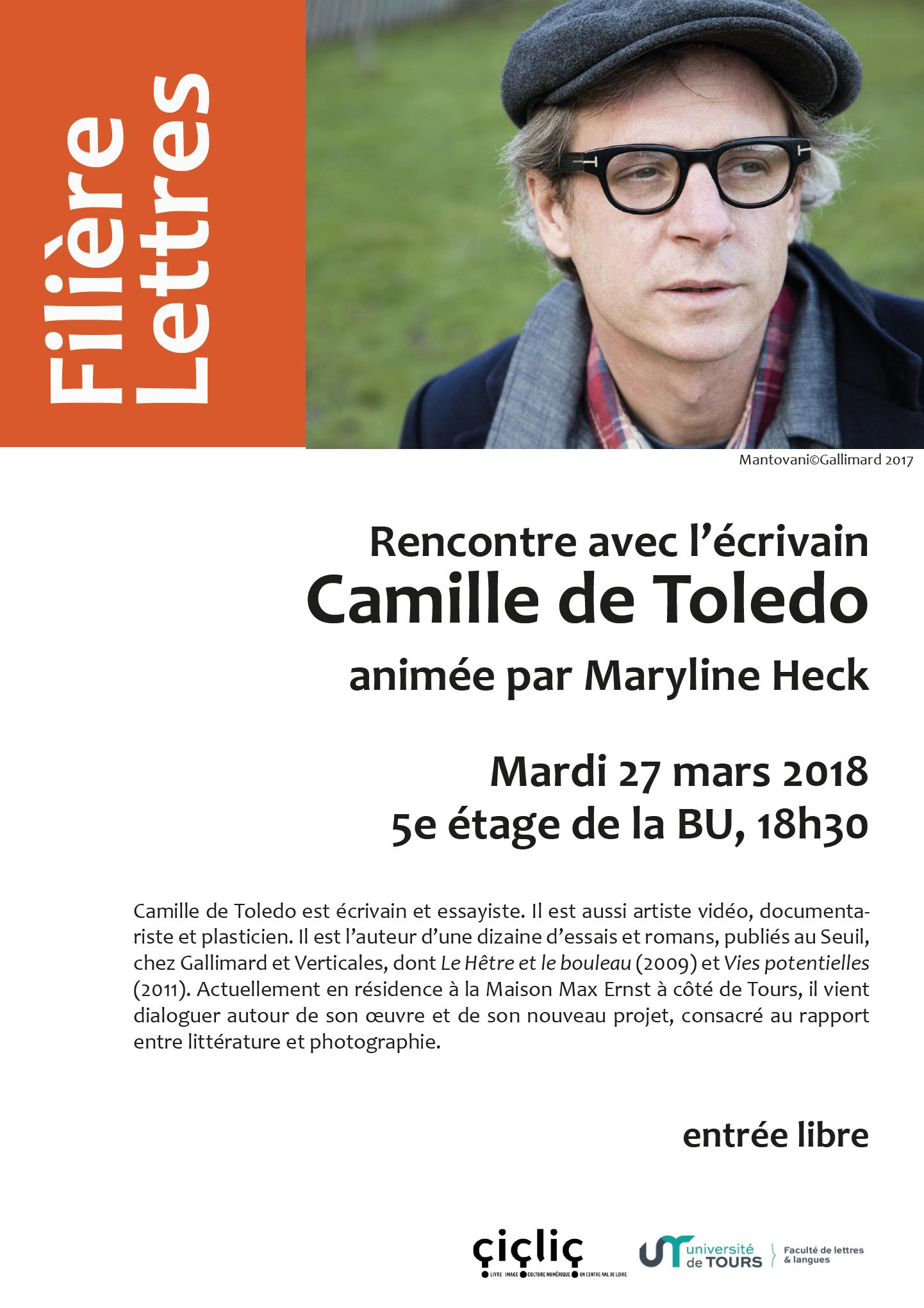 Affiche_Rencontre avec ecrivain Camille de Toledo
